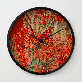 Abstract Red Rust on Green Paint Wall Clock