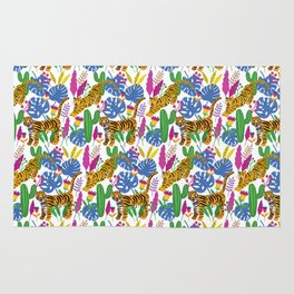 Tigers tropical pattern Rug