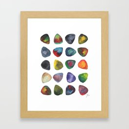 Guitar Picks Watercolor Gerahmter Kunstdruck