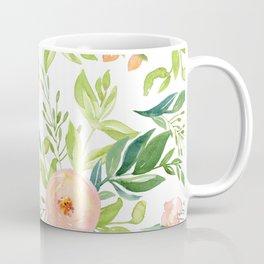 Happy Coral Pink + Green Rose Garden Coffee Mug
