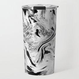Swirly Black & White Marble Travel Mug