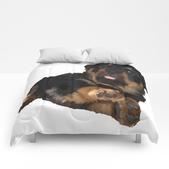 Cute Rottweiler Puppy Vector Comforters