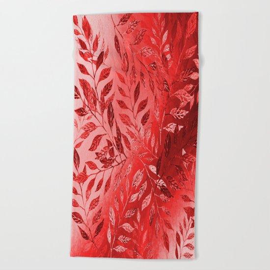 Monochrome  Leaf Arrangement (Red) Beach Towel