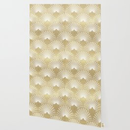 Gold foil look Art-Deco pattern Wallpaper