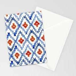 blue rhombus balinese ikat Stationery Cards