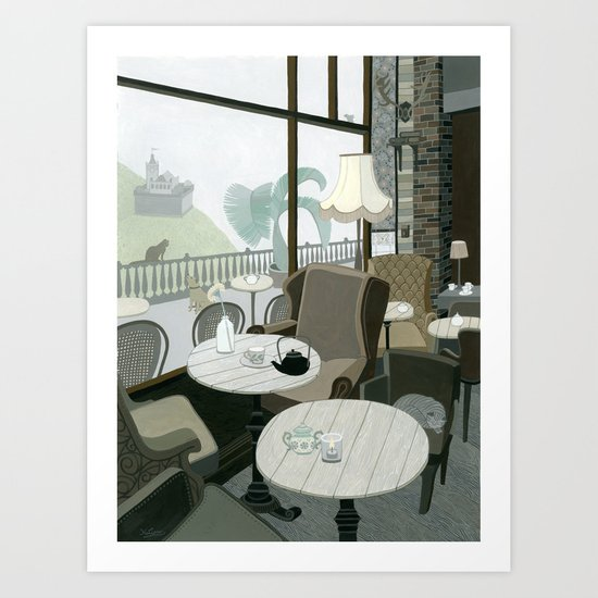Cafe With A View Of The Castle Art Print
