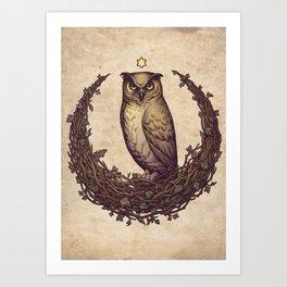 Owl Hedera Moon Art Print