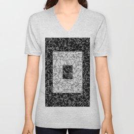 Black and white marble texture 5 Unisex V-Neck