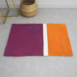 Purple Wine Yellow OchreMid Century Modern Abstract Minimalist Rothko Color Field Squares Rug