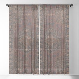 Boho Chic Dark I // 17th Century Colorful Medallion Red Blue Green Brown Ornate Accent Rug Pattern Sheer Curtain