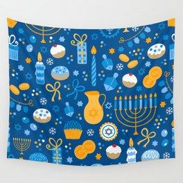 Hanukkah Happy Holidays Pattern Wall Tapestry