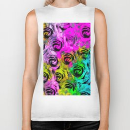 rose texture abstract  with colorful painting abstract background in pink blue yellow green Biker Tank