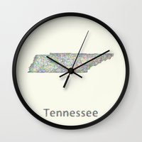 tennessee Wall Clocks featuring Tennessee map by David Zydd