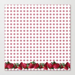 Srawberry Polka Dots Canvas Print