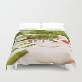 Glass bowl of cottage cheese Duvet Cover