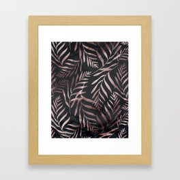 Rose Gold Leaves on Dark Gray Black Framed Art Print