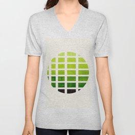 Watercolor Sap Green Minimalist Mid Century Modern Square Matrix Geometric Pattern Round CircleFrame Unisex V-Neck