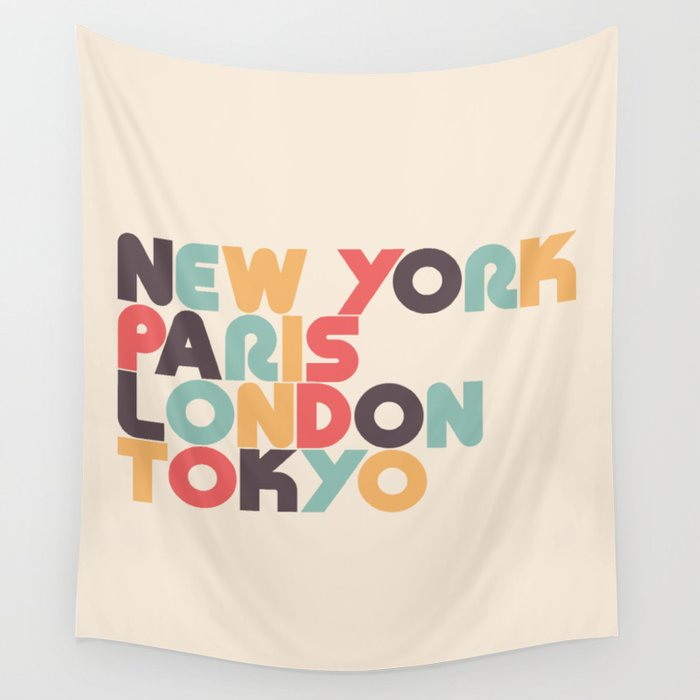 New York Paris London Tokyo Typography - Retro Rainbow Wandbehang