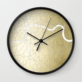 Gold on White London Street Map II Wall Clock