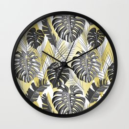 Modern tropical gray lime green chevron leaves floral Wall Clock