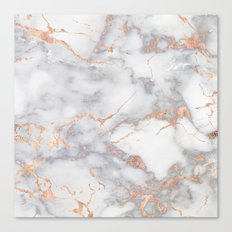 Grey Marble Rosegold  Pink Metallic Foil Style Canvas Print