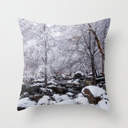 Oak Creek on a Snowy Day Throw Pillow