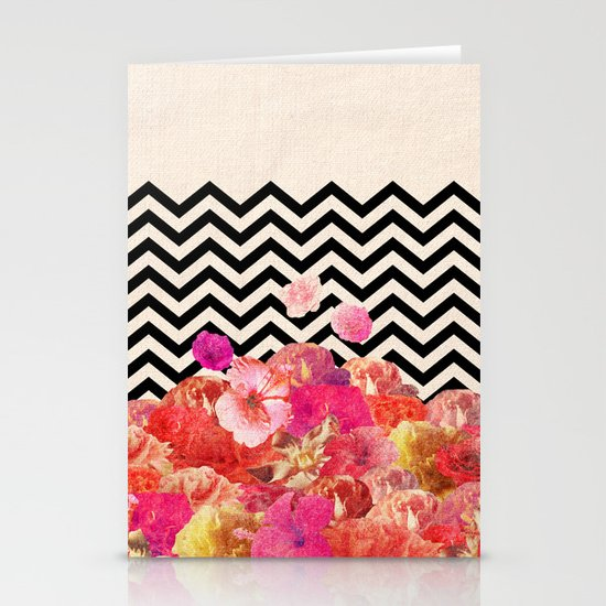 Chevron Flora II Stationery Cards