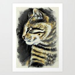 Arnie The Cat Woodblock Style Art Print