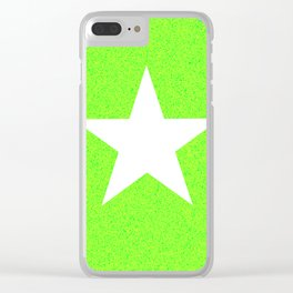 white star on green and yellow abstract background Clear iPhone Case