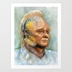Neelix Watercolor Portrait Voyager Talaxian Geek Sci-fi Art Art Print
