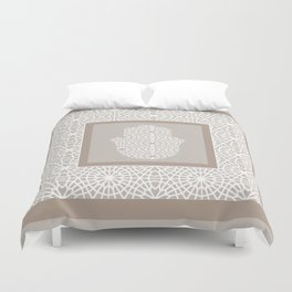 Hamsa in morrocan pattern Duvet Cover
