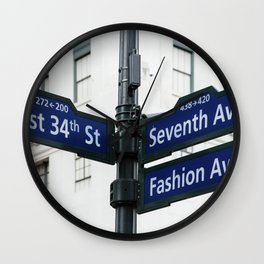 Road signs in Midtown of New York Wall Clock