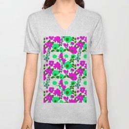 Mod Garden in White Pink + Green Unisex V-Neck