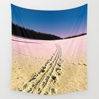 skiing Wall Tapestries featuring Cross country skiing | Winter wonderland | Landscape photography by Patrick Jobst