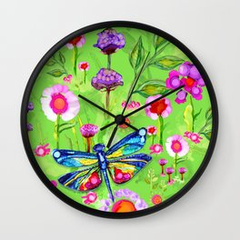 Tropical Dragonfly Garden Wall Clock