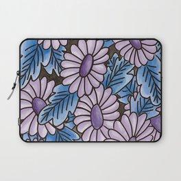 Purple flowers blue leaves pattern Laptop Sleeve