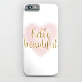 Pink Gold Watercolor Heart Hello Beautiful iPhone Case