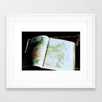 vintage map Framed Art Prints featuring Vintage Map by Katie Yang