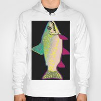 trout Hoodies featuring Neon Rainbow Trout by Florian Rodarte
