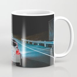 White wrx sti parked on an empty highway Coffee Mug