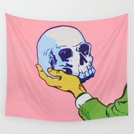 Man Holding Skull Wall Tapestry