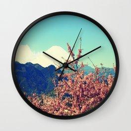 Mountains & Flowers Landscape Wall Clock