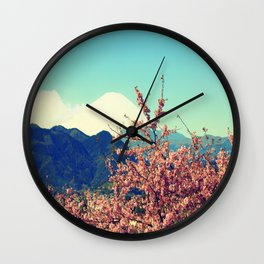 Mountains & Flowers Landscape Wall Clock