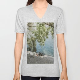 Couple Relaxing on the Banks of the Seine in Paris Unisex V-Neck