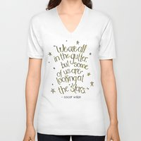 oscar wilde V-neck T-shirts featuring We are all in the gutter - Oscar Wilde  by Josie Lyn