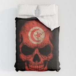 Dark Skull with Flag of Tunisia Comforters