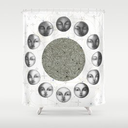 the moon's cycle on white Shower Curtain