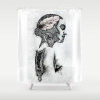 black swan Shower Curtains featuring Swan by JsR_OtR