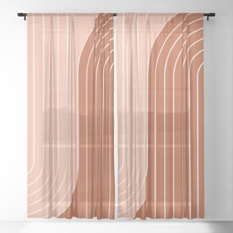 Two Tone Line Curvature XXIX Sheer Curtain