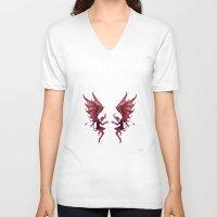 diablo V-neck T-shirts featuring Double Diablo by Little Bunny Sunshine